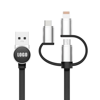 3 in 1 Logo Cable - zwart