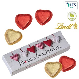 5 Lindt hearts in a gift box