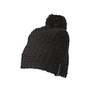 Unicolourood Crocheted Cap with Pompon
