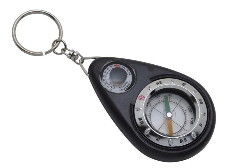 Sleutelhanger met kompas en thermometer