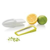 2-in-1 citruspers en rasp, wit