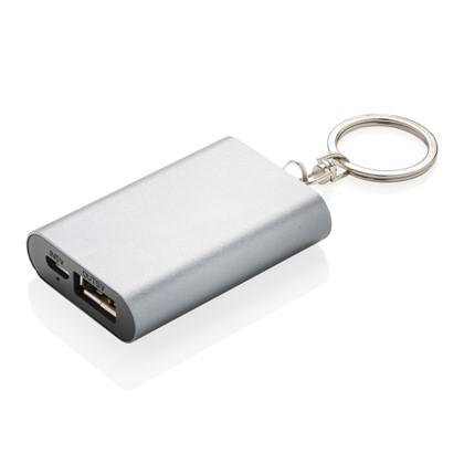 1000 mAh sleutelhanger powerbank, zilverkleurig