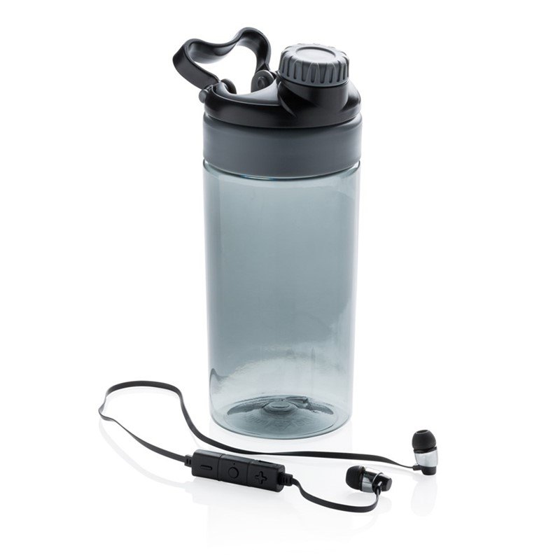 Lekvrije sportfles met draadloze koptelefoon