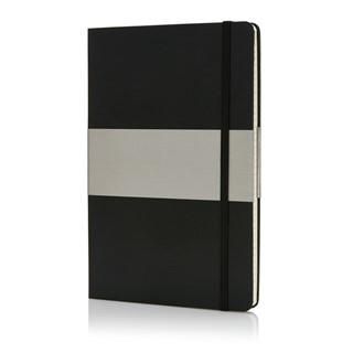 A5 geruit hardcover notitieboek, zwart