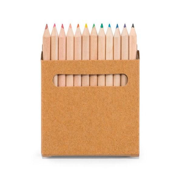 Potlodendoosje met 12 gekleurde potloden.