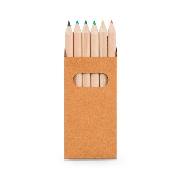 Potlodendoosje met 6 gekleurde potloden.
