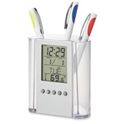 Kunststof pennenhouder met kalender, klok en temperatuurweergave.