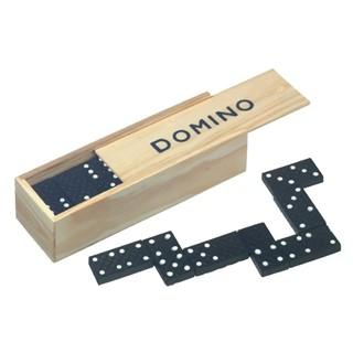 28 delig houten dominospel in doosje met schuifdek