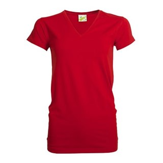 L&S T-shirt V-neck cotelast SS for her