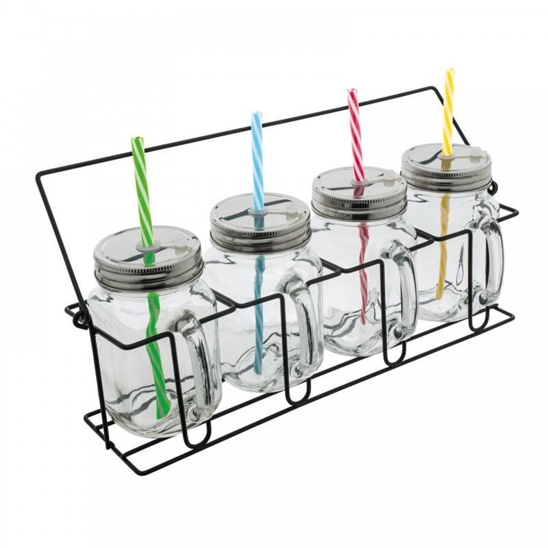 Set van 4 glazen met rietjes
