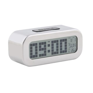 Alarmclock,LCD,oval,chrome,metal